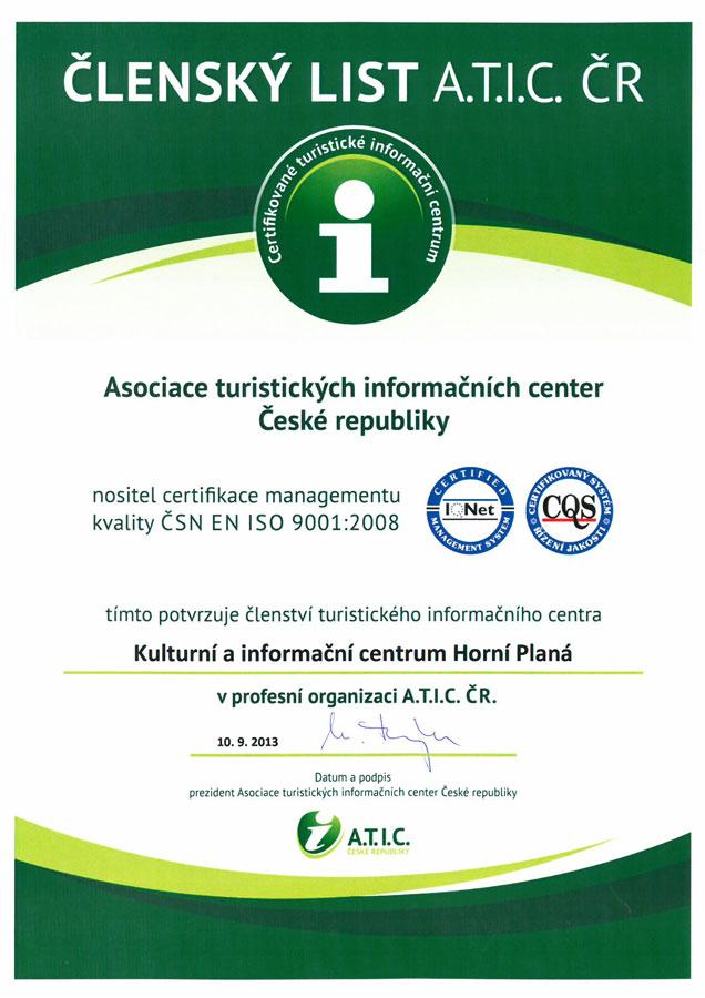 Certifikát ATIC