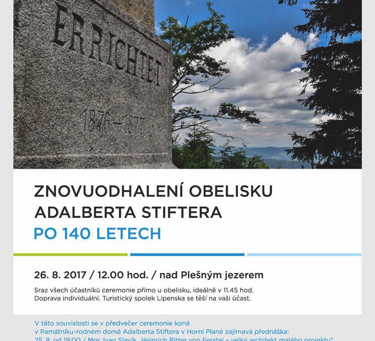 Znovuodhalení obelisku A.Stiftera po 140 letech